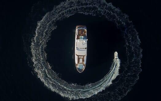 Motor Yacht SERENITAS Birds Eye View with Tender