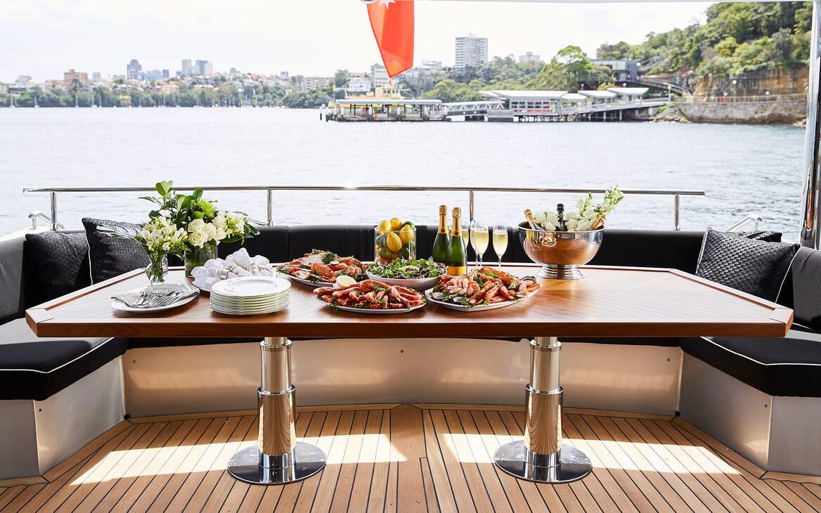 Motor Yacht Ghost II aft dining area