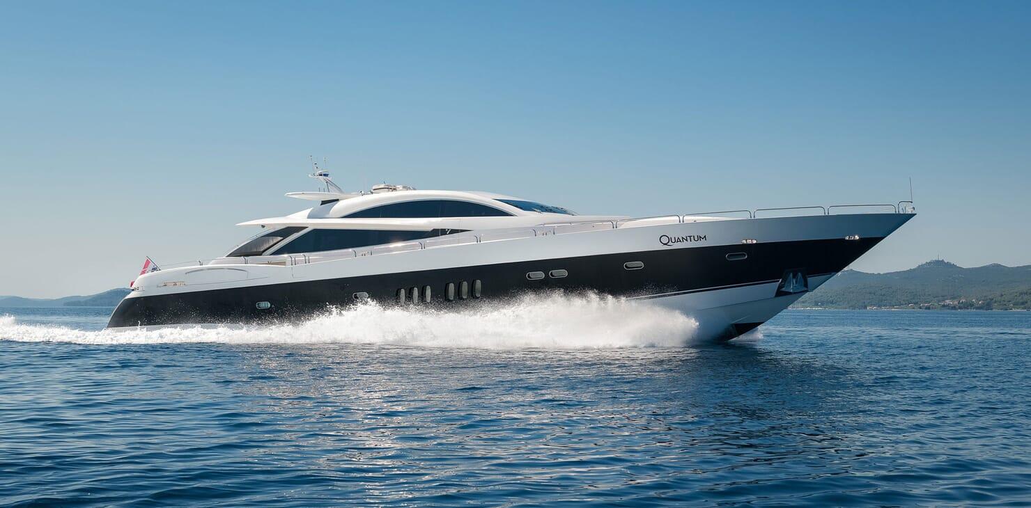 Motor Yacht Quantum hero shot on blue water