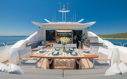 Motor yacht Quantum aerial shot of alfresco dining area