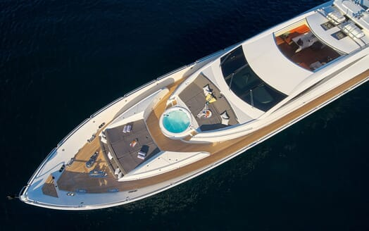 Motor yacht Quantum aerial shot of jacuzzi and sun loungers
