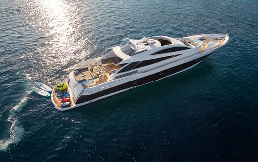 Motor yacht Quantum aerial shot with water toys