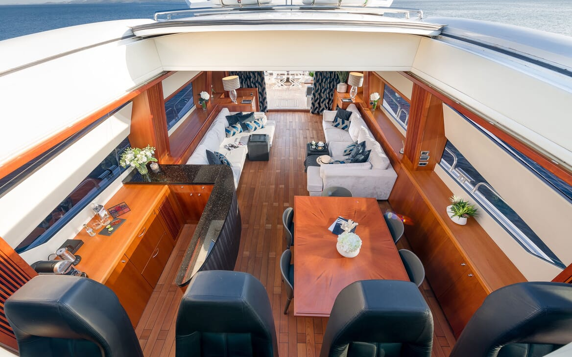 Motor yacht Quantum aerial shot of living room and bar area