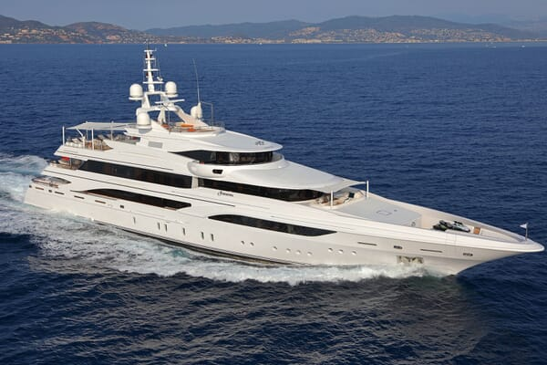 Motor yacht FORMOSA hero shot on water