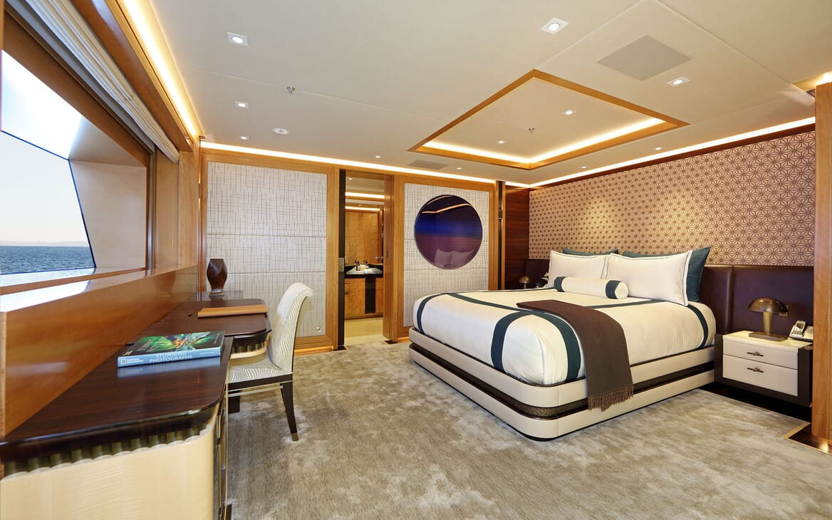 Motor yacht FORMOSA large stateroom with double bed and soft lighting