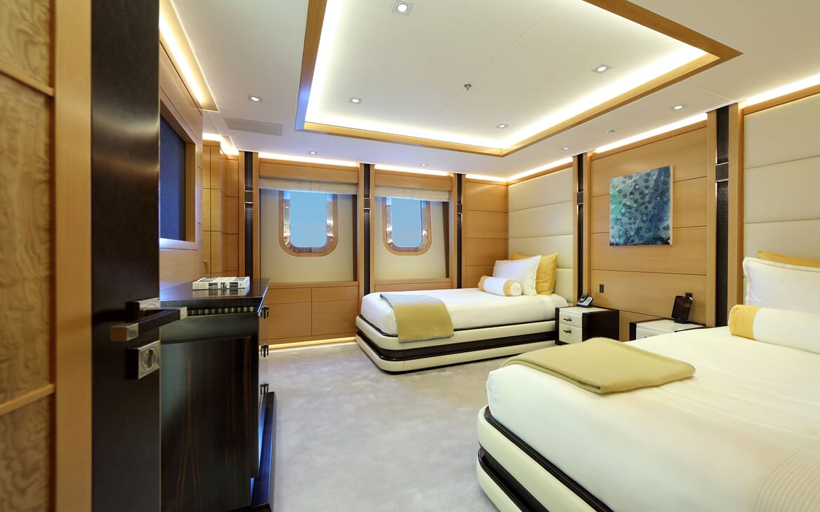 Motor yacht FORMOSA twin stateoroom with soft lighting