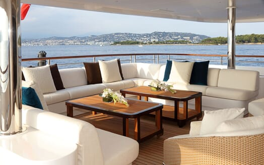 Motor yacht FORMOSA alfresco living space on deck