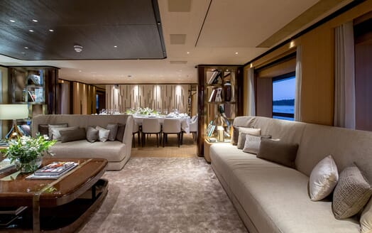 Motor Yacht VERTIGE Main Deck Salon and Dining