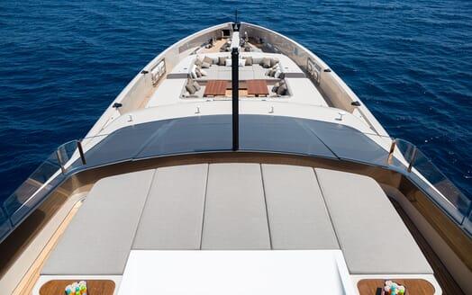 Motor Yacht VERTIGE Sun Deck Looking Forward to Seating Area