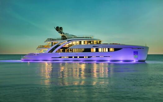 Motor Yacht EUPHORIA Evening Profile