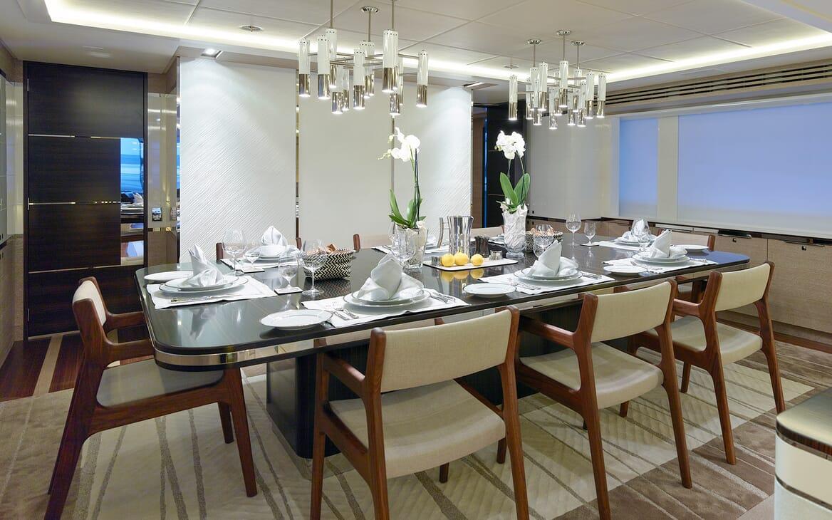 Motor Yacht Asya dining area