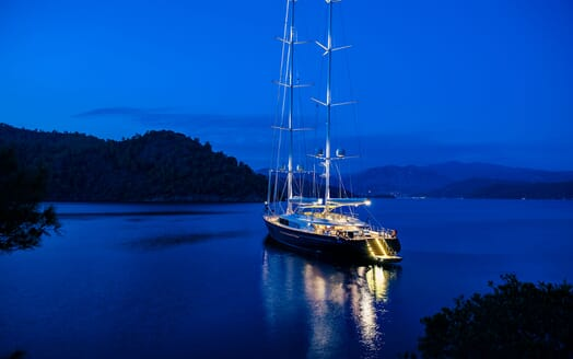Sailing Yacht Melek hero shot at night