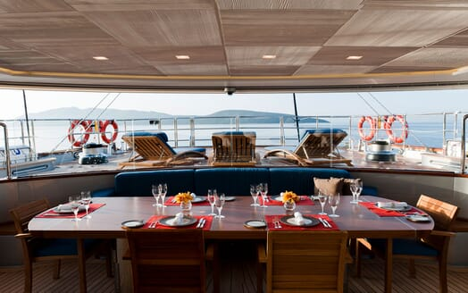 Sailing Yacht Melek deck with alfresco dining table