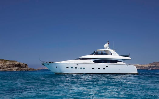 Motor yacht MEME hero shot on turquoise water and blue sky