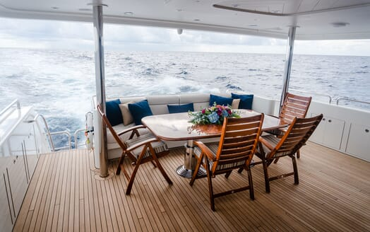 Motor Yacht LADY JJ Main Aft Deck Dining Table