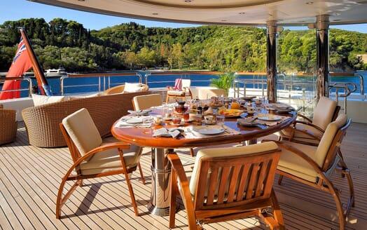 Motor Yacht ANNA I Aft Deck Al Fresco Dining