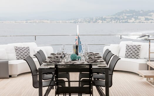 Motor Yacht December Six outdoor dining area