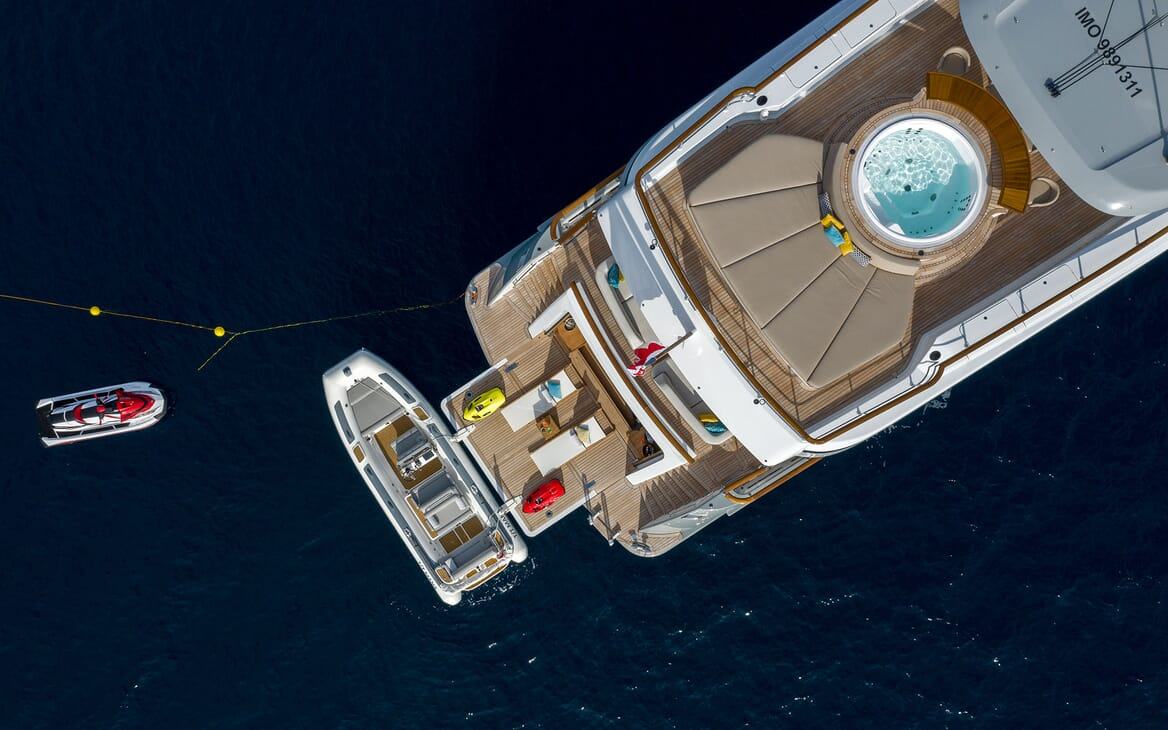 Motor Yacht MANA Aerial Aft Deck With Toys