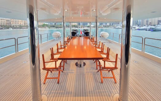 Motor Yacht Moonlight outside dining area