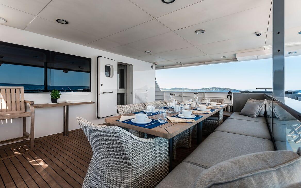Motor Yacht OUR WAY Aft Deck Al Fresco Dining