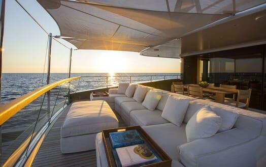 Motor Yacht MOKA Aft Deck Sunset