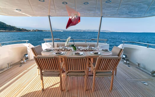Motor Yacht PANTHOURS Main Aft Deck Dining Table