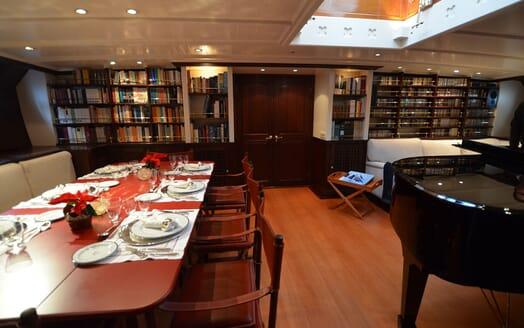 Sailing Yacht SHENANDOAH Dining Table set up