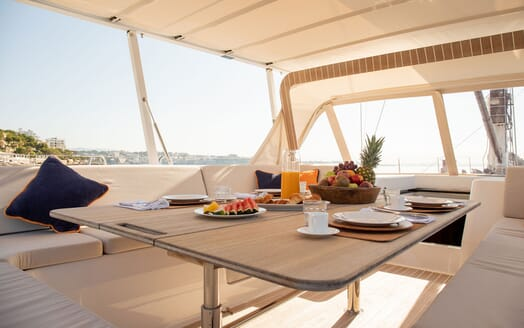 Sailing Yacht SWAN 80-102 SAPMA Deck Dining Table Detail