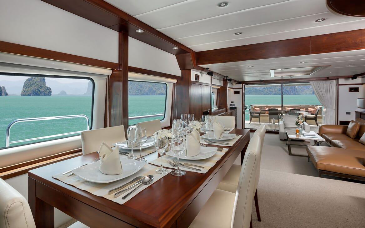 Motor Yacht MIA KAI Main Saloon Dining Table