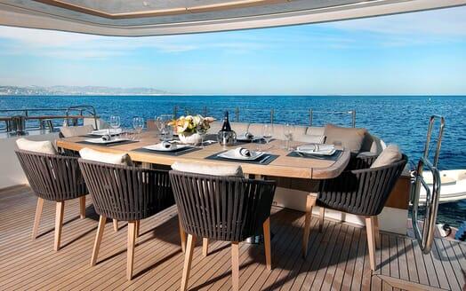 Motor Yacht EMERALDA OF THE SEAS Aft Deck Al Fresco Dining