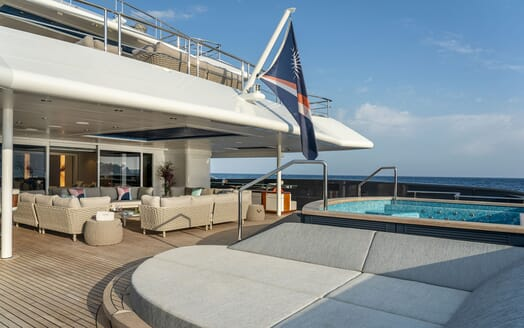 Motor Yacht ILLUSION PLUS Aft Deck Seating and Jacuzzi