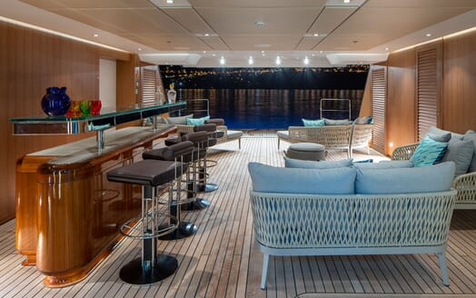 Motor Yacht ILLUSION PLUS Lower Deck Bar and Saloon