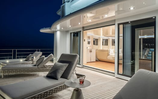 Motor Yacht ILLUSION PLUS Evening Deck Loungers