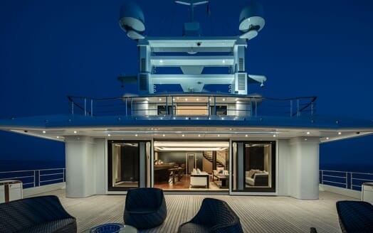 Motor Yacht ILLUSION PLUS Evening Deck Radar Tower