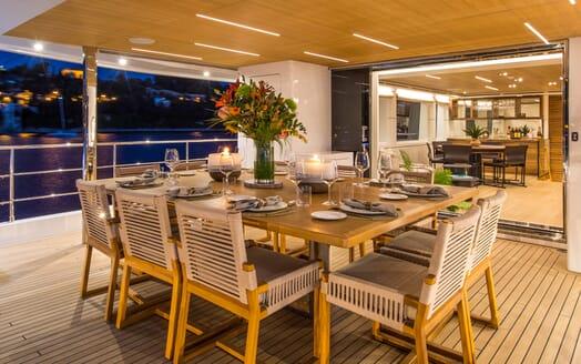 Motor Yacht Mimi La Sardine Evening Deck Dining