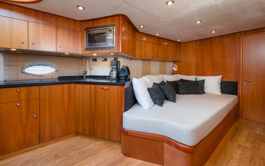 Motor Yacht GLORIOUS kitchen and seating area