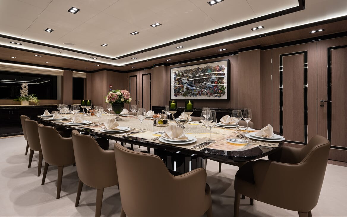 Motor yacht Optasia running dining room