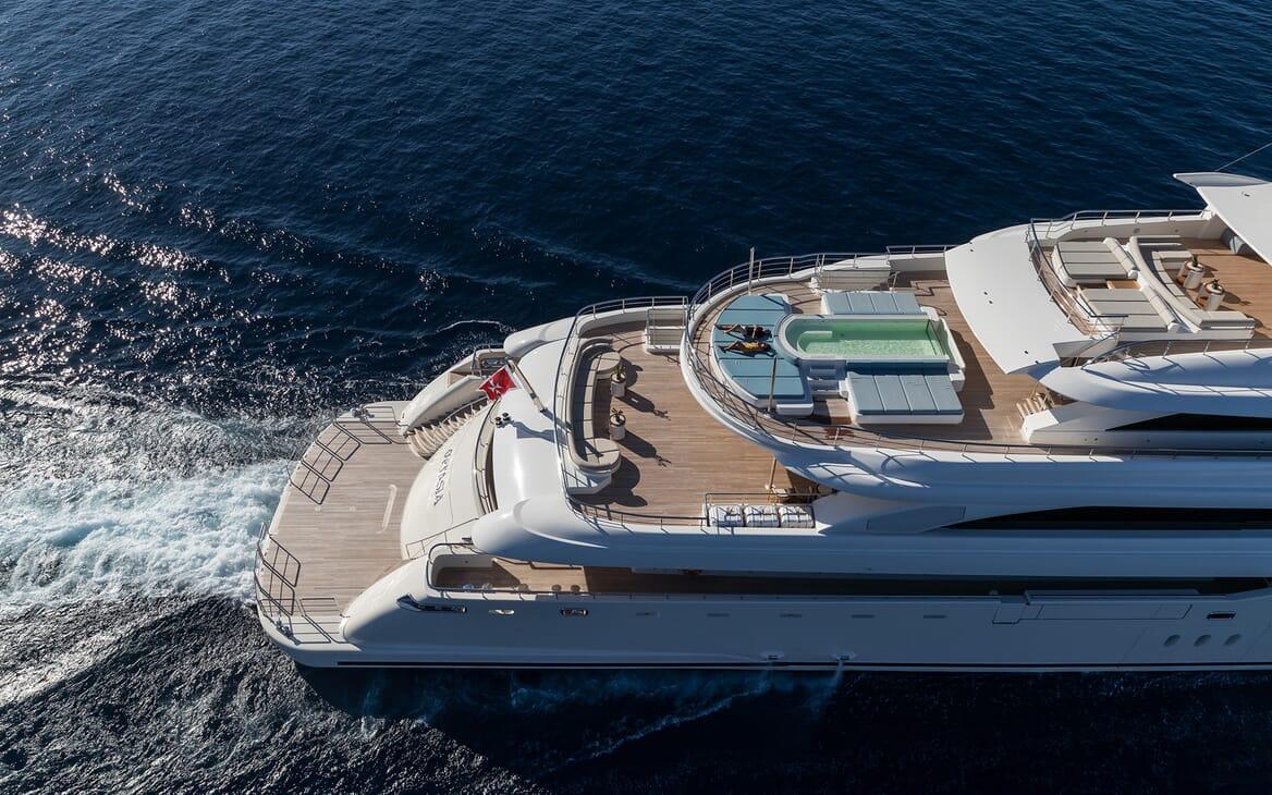 Motor yacht Optasia running aerial shot
