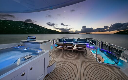 Motor Yacht Lone Star Sun Deck Evening