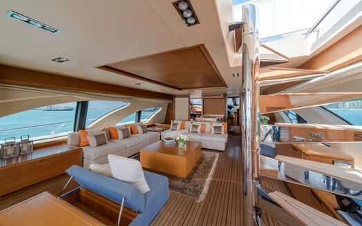 Motor Yacht FIVE Main Saloon from Stairs