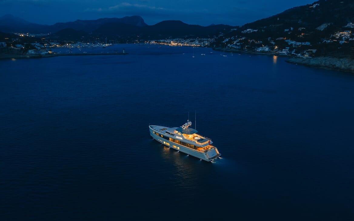 Motor Yacht Calypso Aerial Evening