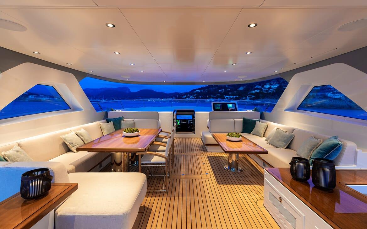 Motor Yacht Calypso Sun Deck Evening