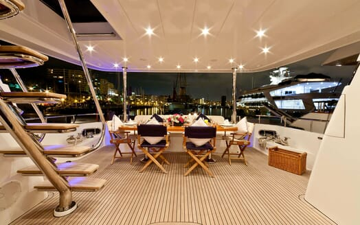 Motor Yacht SAMARIC Aft Deck Evening