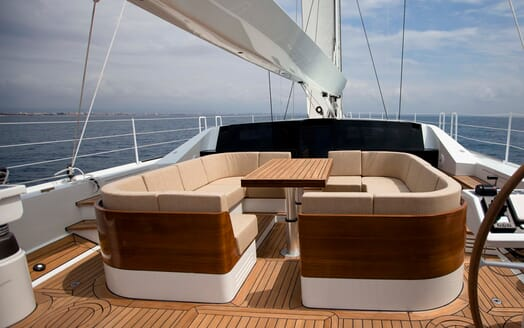 Sailing Yacht Bliss 2 outside seating area
