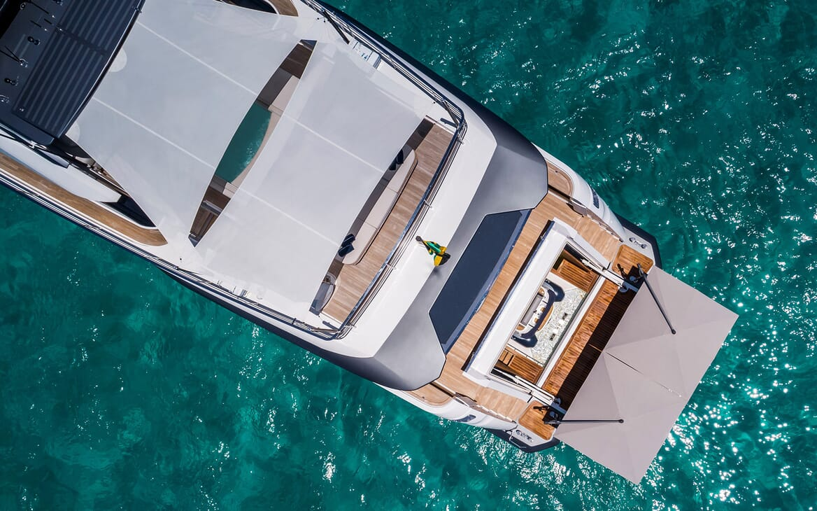 Motor Yacht VISTA BLUE Aft Deck Swim Plaform Aerial