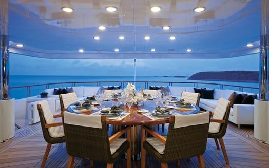 Motor Yacht ALESSANDRA Aft Deck Dining