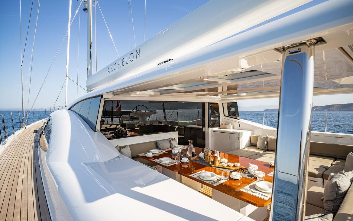 Sailing Yacht ARCHELON Evening Dining Table