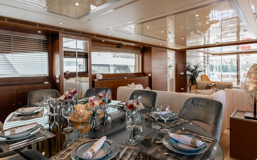 Motor Yacht Babousha Dining Table and Saloon