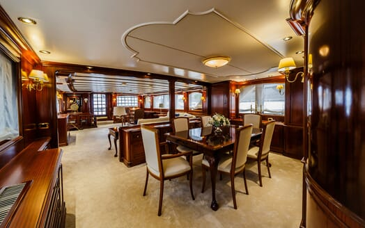 Motor Yacht TO JE TO Main Deck Saloon and Dining Table
