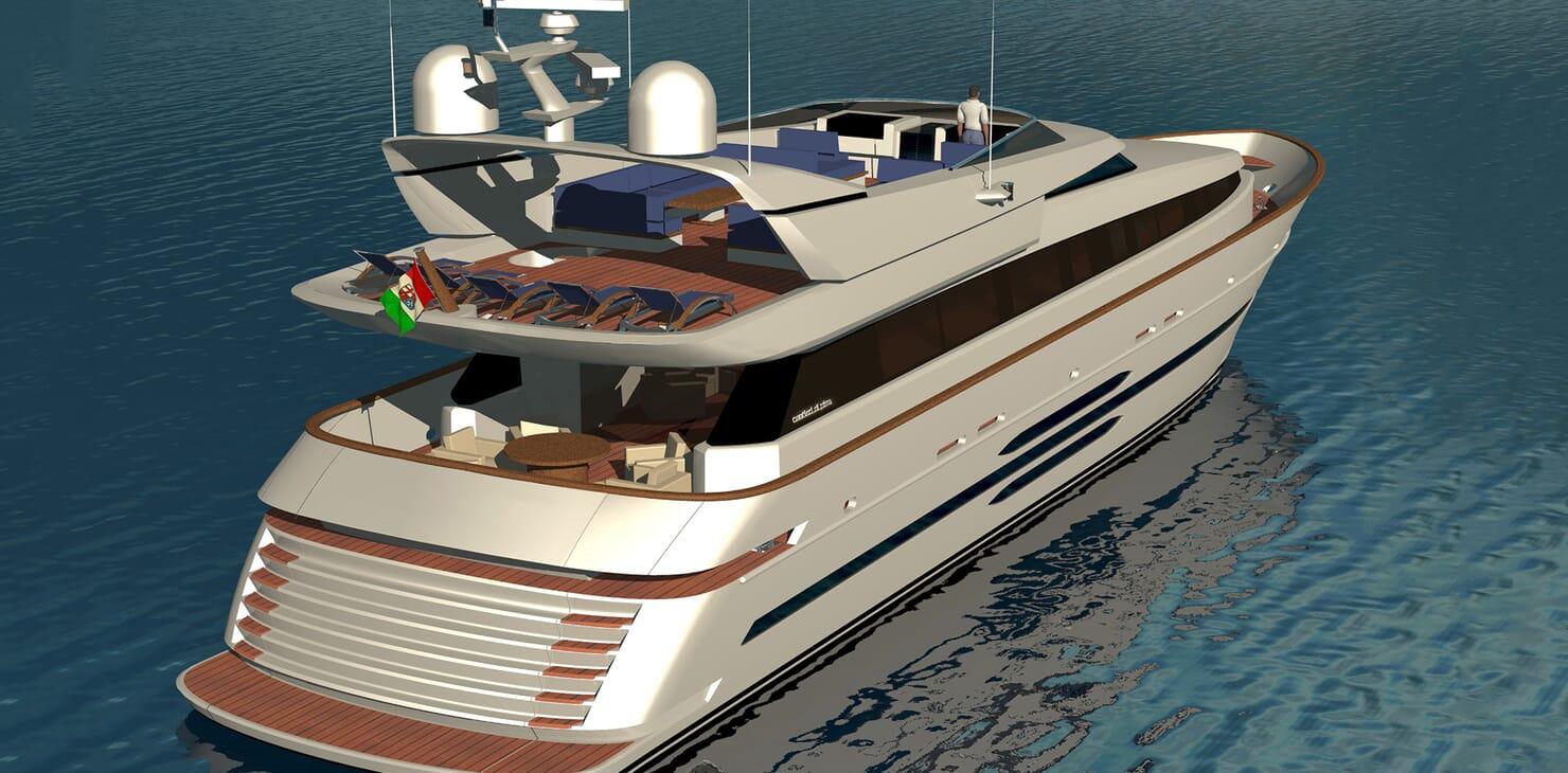 Motor yacht Akhirs 108 690 profile aft